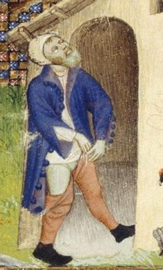 Christine de Pisan, Book of the Queen,  Harley MS_4431_115v Especially see the shirt with buttons, braies, hose