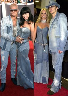 Katy Perry Does Her Best Britney Spears Impression in Denim-on-Denim Dress at 2014 MTV VMAs
