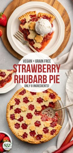 With a crispy crust & juicy filling, this Strawberry Rhubarb Pie is a perfect warm-weather dessert! Vegan, Grain-Free, & made with 8 healthy ingredients. Strawberry Rhubarb Pie, Raspberry Tarts, Vegan Sweets, Healthy Desserts, Appetizer Recipes, Dessert Recipes, Pie Recipes, Drink Recipes, Appetizers