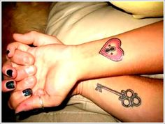 Unique Tattoo Designs For Couples: Heart Lock And Key Tattoo Designs For Couples On Hand ~ Men Tattoos Inspiration