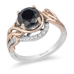 Enhanced Black Diamond Thorn Engagement Ring in Two-Tone Gold Enchanted Disney Villains Maleficent 2 CT. Enhanced Black Diamond Thorn Engagement Ring in Two-Tone Gold Diamond Cluster Ring, Halo Diamond, Diamond Rings, Diamond Jewelry, Diamond Bracelets, Black Diamond Engagement, Diamond Wedding Bands, Wedding Rings, Wedding Jewelry
