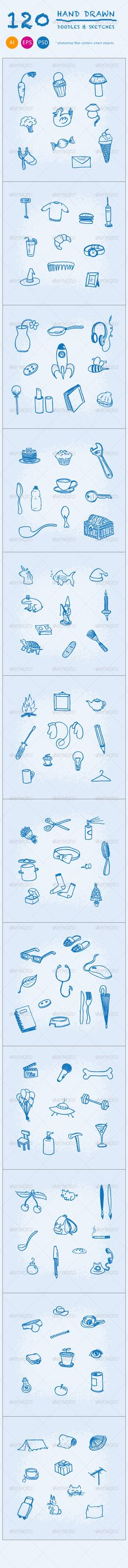 120 Hand Drawn Doodles and Sketches (Objects)