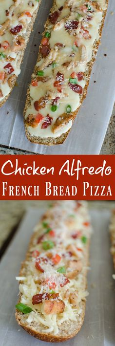 Chicken Alfredo French Bread Pizza - easy weeknight meal the whole family will love! French bread layered with alfredo sauce, chicken, bacon, green onions, tomatoes, and 2 cheeses. AD