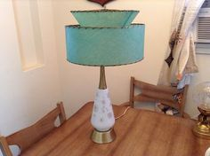 Vintage 1950's Mid Century Modern Green Lamp and Fiberglass Lamp Shade 2 Tier | eBay