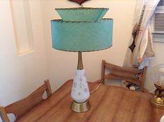 Vintage 1950's Mid Century Modern Green Lamp and Fiberglass Lamp Shade 2 Tier | eBay