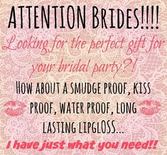 Because I know how special that day is and how stressful gets, your lipstick should be one less thing to worry about. No smudge, no fading, long lasting and kiss proof. Get your LipSense today at www.senegence.com Distributor ID# 513072