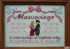 Mawwiage - Customizable PATTERN. $9.99, via Etsy. ~ I wouldn't have the patience to do this myself, but it is awesome