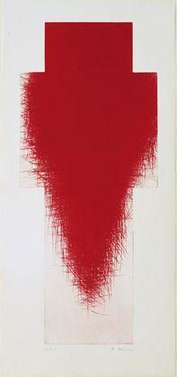 """Red Cross (Rotes Kreuz)  Arnulf Rainer (Austrian, born 1929)    (1980-85). Drypoint, irreg. plate: 45 9/16 x 19 5/8"""" (115.7 x 49.8 cm); sheet: 52 13/16 x 24 5/8"""" (134 x 62.6 cm). Walter Bareiss Fund. © 2012 Arnulf Rainer"""