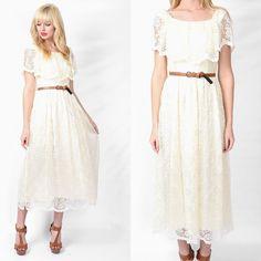 Vintage 70s 80s Cream Dress Hippie Wedding Scalloped Floral cape Lace Boho S #Unbranded #Maxi #Cocktail