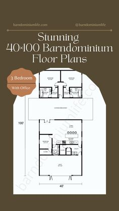 Barndominium's floor plan is one of the most important things one will come up with in the design process. Without having the right floor plan, none will be able to get everything they want from their barndo and this can defeat the whole purpose of the project. In this attached article, we have put together some amazing examples of a 40×100 barndominium floor plan to help get you inspired. You might even find the perfect floor plan here and from there on out, your work is done! Closet Office, Bedroom Office, 3 Bedroom Floor Plan, Barndominium Floor Plans, Kitchen Utilities, Design Process, Flooring, How To Plan, Purpose