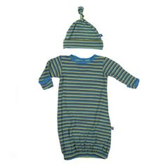 Print Layette Gown and Knot Hat Set in Boy Farm Stripe
