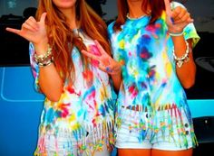 Get xl-long t-shirts, tie-dye according to your own colors and style, cut strips up to the desirable spot on your stomach, slide on beads of choice, an then tie a knot!