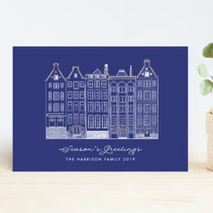 """""""Amsterdam Row Houses"""" - Vintage Holiday Cards in Navy by Becky Nimoy. Michael Christmas, Holiday Photo Cards, Vintage Holiday, The Row, Amsterdam, Wedding Invitations, Seasons, Houses, Navy"""