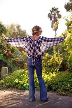 flowy blouse, checkered blouse, plaid blouse.  bootcut denim.