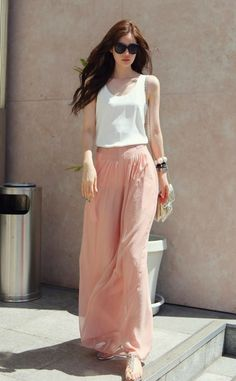 you can't go wrong with this long peach skirt! wear it casual with sandals and tank, or dress it up! -Deborah Jaffe