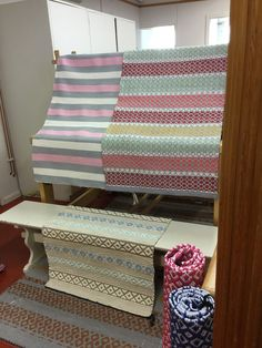 Vielä muutama matto Recycled Fabric, Woven Rug, Ikea, Weaving, Blanket, Rugs, Inspiration, Home, Fabrics