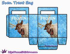Frozen: Bolsas de Papel en Celeste, para Imprimir Gratis.