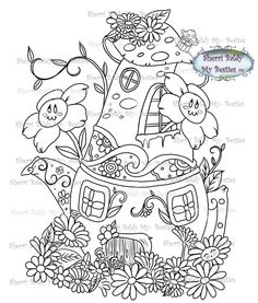 Fun Christmas Party Games, Christmas Fun, Free Coloring Pages, Coloring Books, Garden Houses, Pocket Letters, Colorful Party, White Image, Digi Stamps