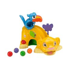 Add a little pride to playtime. THE LION KING Drop 'n Roar™ Simba toy from Fisher-Price® is a busy infant playset featuring the lovable characters Simba and Zazu from THE LION KING and includes 4 colorful balls for drop-through play.