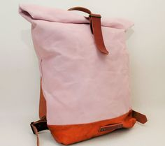Canvas Backpack soft pink color hand waxed by NATURALHERITAGEBAGS