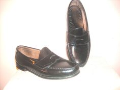 GH BASS Weejuns Black Leather Mens Sz 9.5 EEE Logan Penny Loafer Dress Shoes #Weejuns #LoafersSlipOns