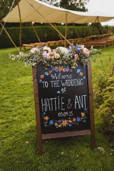 Chalkboard Wedding Signage - Rustic Wedding At Dewsall Court Herefordshire With An Outdoor Ceremony And Bridesmaids in No.1 Jenny Packham With Images From Jackson & Co Photography
