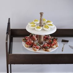 Wood Marble 2-Tier Server | Crate and Barrel