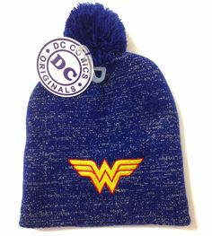 3be80512602 Ladies WONDER WOMAN POM BEANIE Dark Blue   SHINY GOLD SHIMMER STITCH winter  hat  DCComics  Beanie