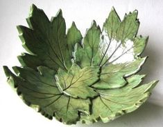 Lime Green Hydrangea Leaf Bowl In Stock Hand Built Pottery, Slab Pottery, Ceramic Pottery, Pottery Art, Ceramic Clay, Ceramic Bowls, Cerámica Ideas, Room Ideas, Cement Art