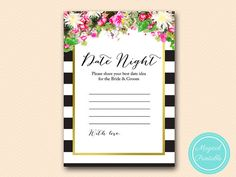 Date night idea card pink floral black stripes by MagicalPrintable