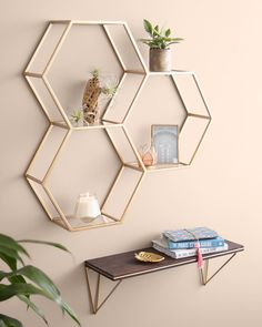 Chic and contemporary, position your favorite knick knacks, succulent plants or books on our Gold And Glass Honeycomb Wall Shelf for a look… Cute Bedroom Decor, Bedroom Decor For Teen Girls, Room Design Bedroom, Room Ideas Bedroom, Diy Room Decor, Aesthetic Room Decor, Cozy Room, Dream Rooms, Room Inspiration