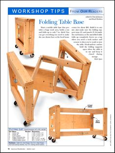 Folding Table Base for the Workshop | American Woodworker Magazine No 127