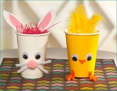 Fun Easter Baskets - Two easy designs made from paper cups and craft supplies – an Easter rabbit and an Easter chick! https://secure.zeald.com/under5s/results.html?q=easter+baskets