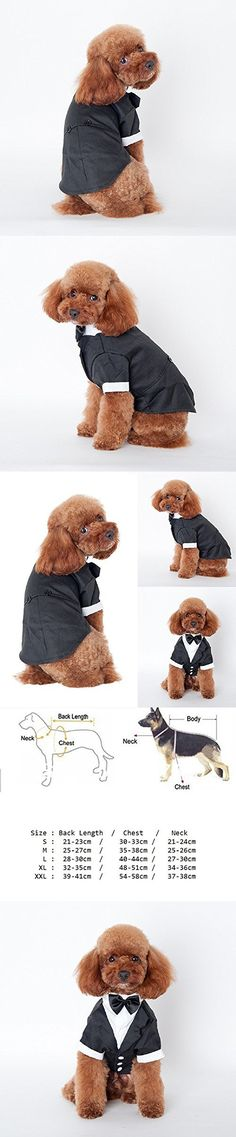 New Pet Dog Cat Puppy Tuxedo Bow Tie Wedding Suit Costumes Coat (XL)