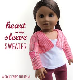"Just in time for Valentine's Day! Make this cute little festive cardigan for your 18"" doll with this free tutorial from PixieFaire.com!"