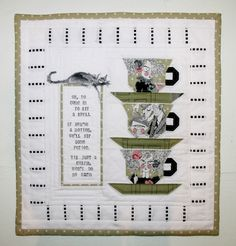Ghastlie Tea Party mini quilt by Annie at freezeframe03.  Tutorial for rubber stamped lettering on fabric.