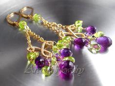 Chandelier earrings Amethyst Peridot earrings gold by Arctida