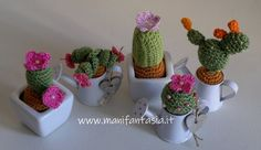 Piante grasse uncinetto in miniatura schemi e spiegazioni - manifantasia Crochet Cactus, Love Crochet, Diy Crochet, Crochet Flowers, Fabric Flowers, Sunburst Granny Square, Creative Food Art, Mini Cactus, Lana
