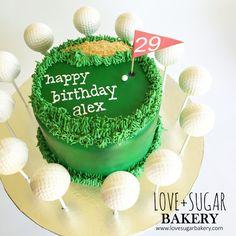 Golf cake and golf ball cake pops