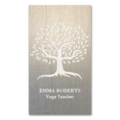 Yoga & Wellness Vintage Tree Elegant Zen Linen Double-Sided Standard Business Cards (Pack Of 100)