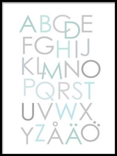 Alphabetical poster for kids. More kids posters can be found at www. Kids Poster, Kid Spaces, Nursery Art, Dream Big, Kids Room, Poster Prints, Inspirational Quotes, Turquoise, Lettering