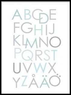 Fin tavla till barn med alfabetet, ABC lärorik och bra. Vi har ett brett utbud av posters och affischer till barn och barnrum. Affisch med bokstäver i turkos och grå färgton. www.desenio.se