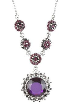 Amethyst & Silver Decorative Crystal Circle Station Necklace by Olivia Welles on @HauteLook