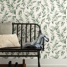 Joanna Gaines Olive Branch Wallpaper from Magnolia Home 2 Wallpaper by York. Priced by single roll and packaged double. How To Install Wallpaper, Peel And Stick Wallpaper, Casas Magnolia, Tapete Beige, Stripped Wallpaper, Magnolia Table, Simple Wallpapers, Home Wallpaper, Kitchen Wallpaper Accent Wall