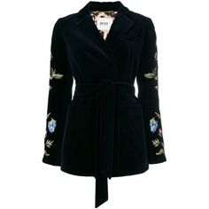 Bazar Deluxe embroidered blazer with belt (57.445 RUB) ❤ liked on Polyvore featuring outerwear, jackets, blazers, blue, embroidered velvet jacket, blazer jacket, embroidery jackets, bazar deluxe and embroidered blazer