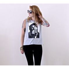 Altered Women's Snoop Dogg Muscle Tee Tank Top Mustache Size Xs Large ($13) ❤ liked on Polyvore