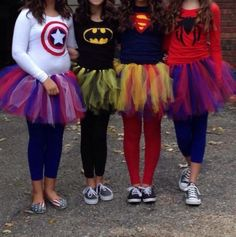 bff costumes for four people More Diy Teen Halloween Costumes, Diy Superhero Costume, Cute Costumes, Costumes For Women, Amazing Costumes, Teen Costumes, Superhero Halloween Costumes, Superhero Party, Woman Costumes