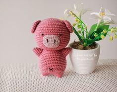 fukuroucrafts: Cerdo Modelo del ganchillo linda muñeca, muñeca de tejer patrón de ganchillo pequeño cerdo lindo.