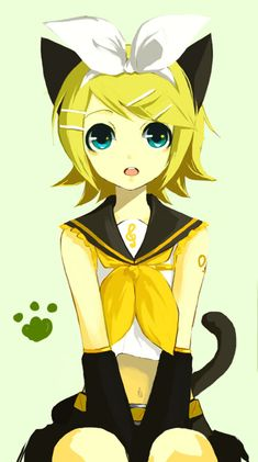 Rin Kagamine as a neko. Lol me and a friend roleplay vocaloid Rin and Len and Len has a cat named Rin too. So is this Rin kitty as neko? Anime Neko, Kawaii Anime, Anime Manga, Anime Art, Hatsune Miku, Kaito, Rin E Len, Kagamine Rin And Len, Vocaloid Cosplay