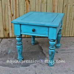 Turquoise Blue/ Night Stand /End Table/ Side by AquaXpressions,